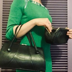 Vintage Leather Set: Handbag, Clutch, & Coin Purse